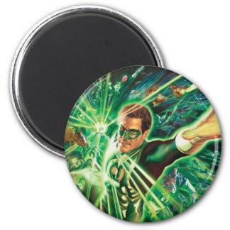 Green Lantern Painting 6 Cm Round Magnet