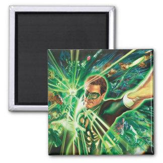 Green Lantern Painting Square Magnet