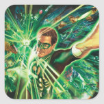Green Lantern Painting Square Stickers