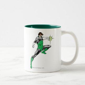 Green Lantern Pointing Ring Two-Tone Coffee Mug