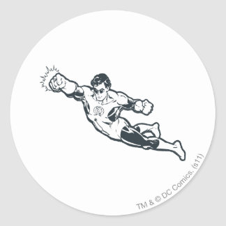 Green Lantern Punches BW Classic Round Sticker