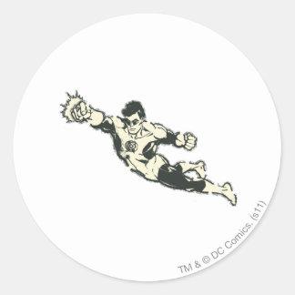 Green Lantern Punches Grunge Classic Round Sticker