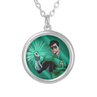Green Lantern & Ring Silver Plated Necklace