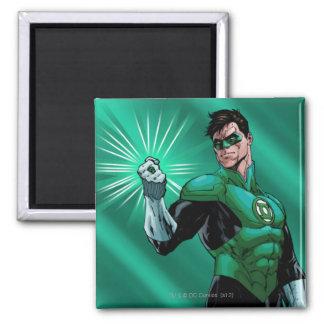 Green Lantern & Ring Square Magnet