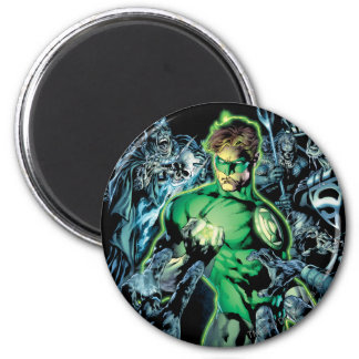 Green Lantern Surrounded - Color 6 Cm Round Magnet