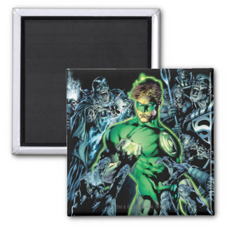Green Lantern Surrounded - Color Square Magnet
