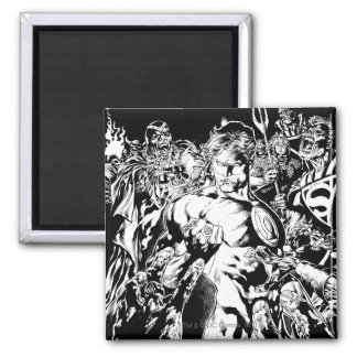 Green Lantern Surrounded Square Magnet