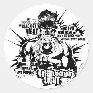 Green Lantern Text Collage Classic Round Sticker