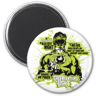 Green Lantern Text Collage - Color 6 Cm Round Magnet