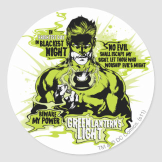 Green Lantern Text Collage - Color Classic Round Sticker