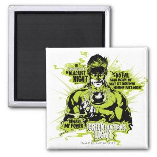 Green Lantern Text Collage - Color Fridge Magnet
