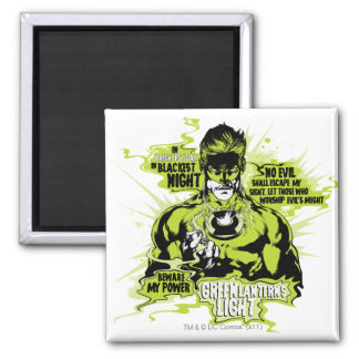 Green Lantern Text Collage - Color Square Magnet