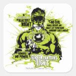 Green Lantern Text Collage - Colour Square Sticker