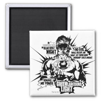 Green Lantern Text Collage Square Magnet