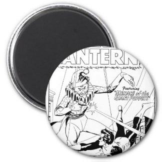 Green Lantern vs Clown, Black and White 6 Cm Round Magnet