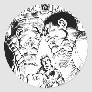 Green Lantern vs Green Lantern, Black and White Classic Round Sticker
