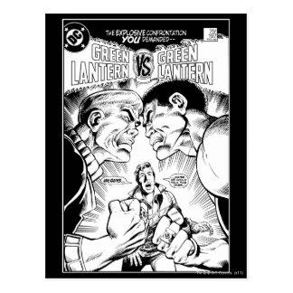 Green Lantern vs Green Lantern, Black and White Postcard
