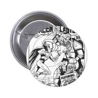 Green Lantern vs The Wizard of Odds, Black and Whi 6 Cm Round Badge