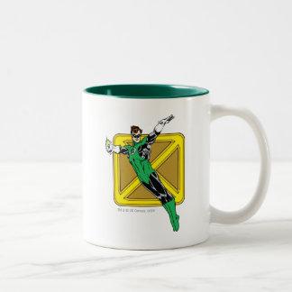 Green Lantern  with Background Two-Tone Coffee Mug