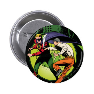Green Lantern with cape in fight 6 Cm Round Badge