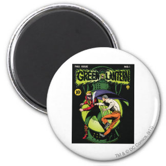 Green Lantern with cape in fight 6 Cm Round Magnet