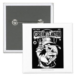 Green Lantern with cape in fight, Black and White 15 Cm Square Badge