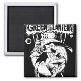 Green Lantern with cape in fight, Black and White Square Magnet