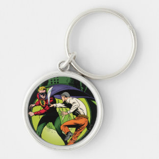 Green Lantern with cape in fight Key Ring