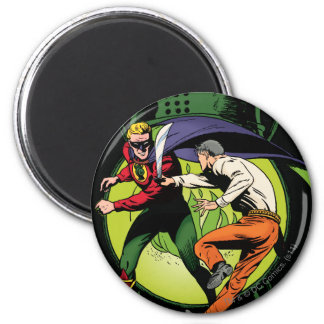 Green Lantern with cape in fight Magnets