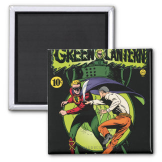 Green Lantern with cape in fight Square Magnet