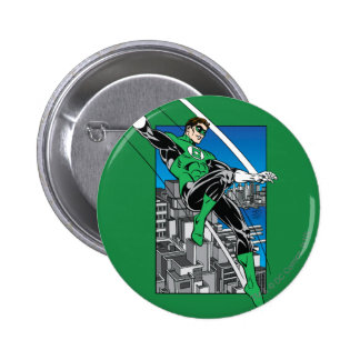 Green Lantern with City Background 6 Cm Round Badge