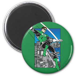 Green Lantern with City Background 6 Cm Round Magnet