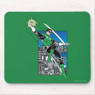 Green Lantern with City Background Mouse Mat