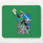 Green Lantern with City Background Mouse Pad