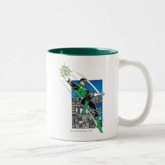 Green Lantern with City Background Coffee Mug