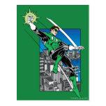 Green Lantern with City Background Postcard