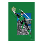 Green Lantern with City Background Poster