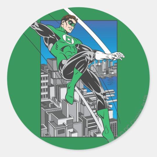 Green Lantern with City Background Round Sticker