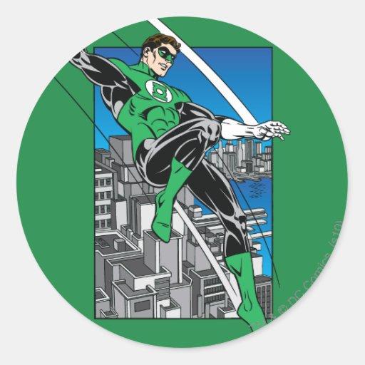 Green Lantern with City Background Classic Round Sticker