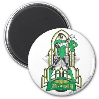Green Lantern with Letters 6 Cm Round Magnet