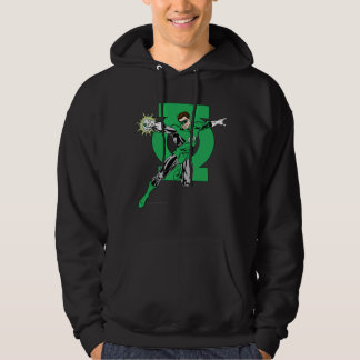 Green Lantern with Logo Background Hoodie