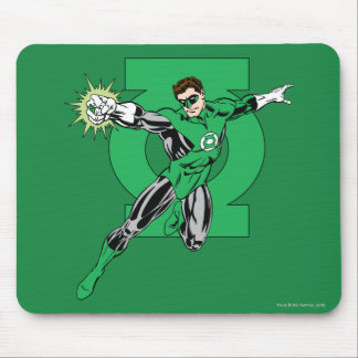Green Lantern with Logo Background Mouse Mat