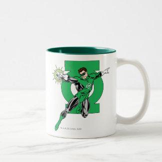 Green Lantern with Logo Background Coffee Mugs