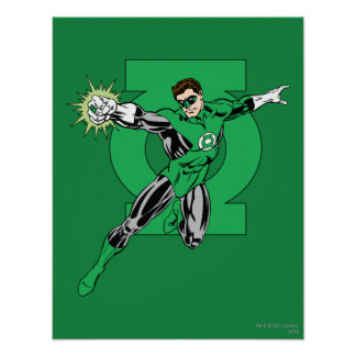 Green Lantern with Logo Background Poster