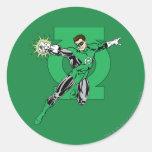 Green Lantern with Logo Background Round Sticker