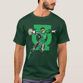 Green Lantern with Logo Background T-Shirt
