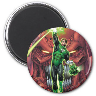 Green Lantern with stream of light - Color 6 Cm Round Magnet