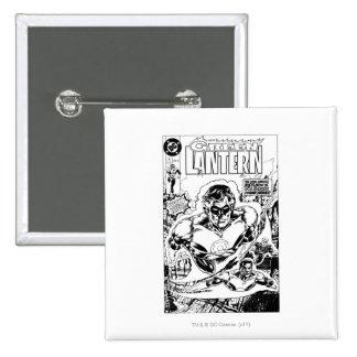 Green Lanterns Flying, Black and White 15 Cm Square Badge