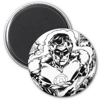 Green Lanterns Flying, Black and White 6 Cm Round Magnet