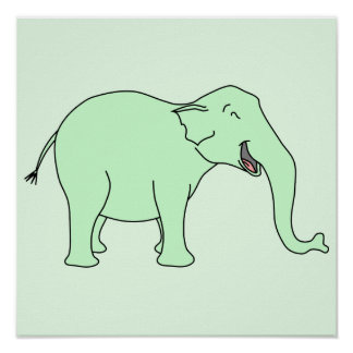 Green Laughing Elephant Cartoon Posters